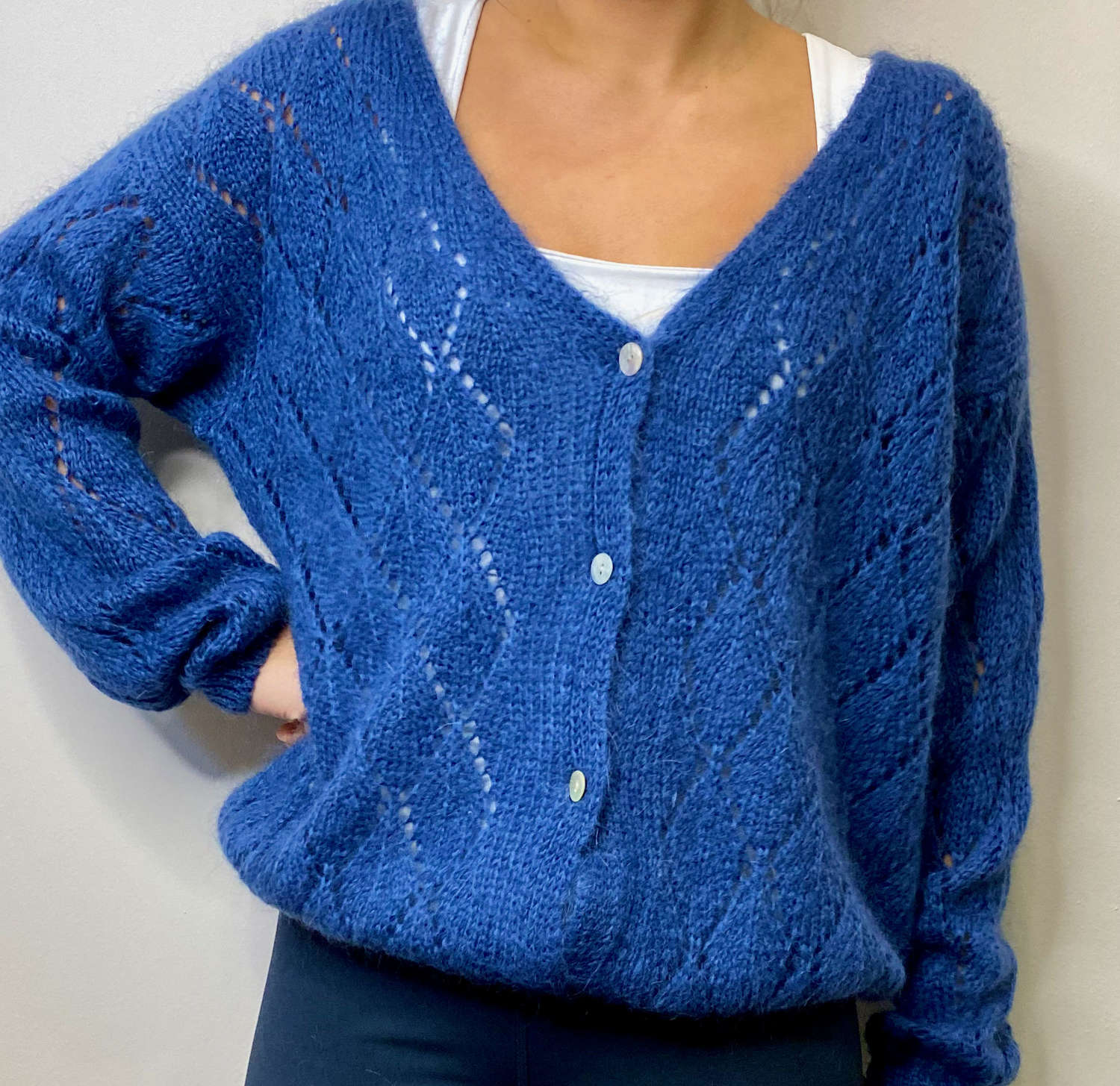 Mohair mix Cardigan - Cobalt blue