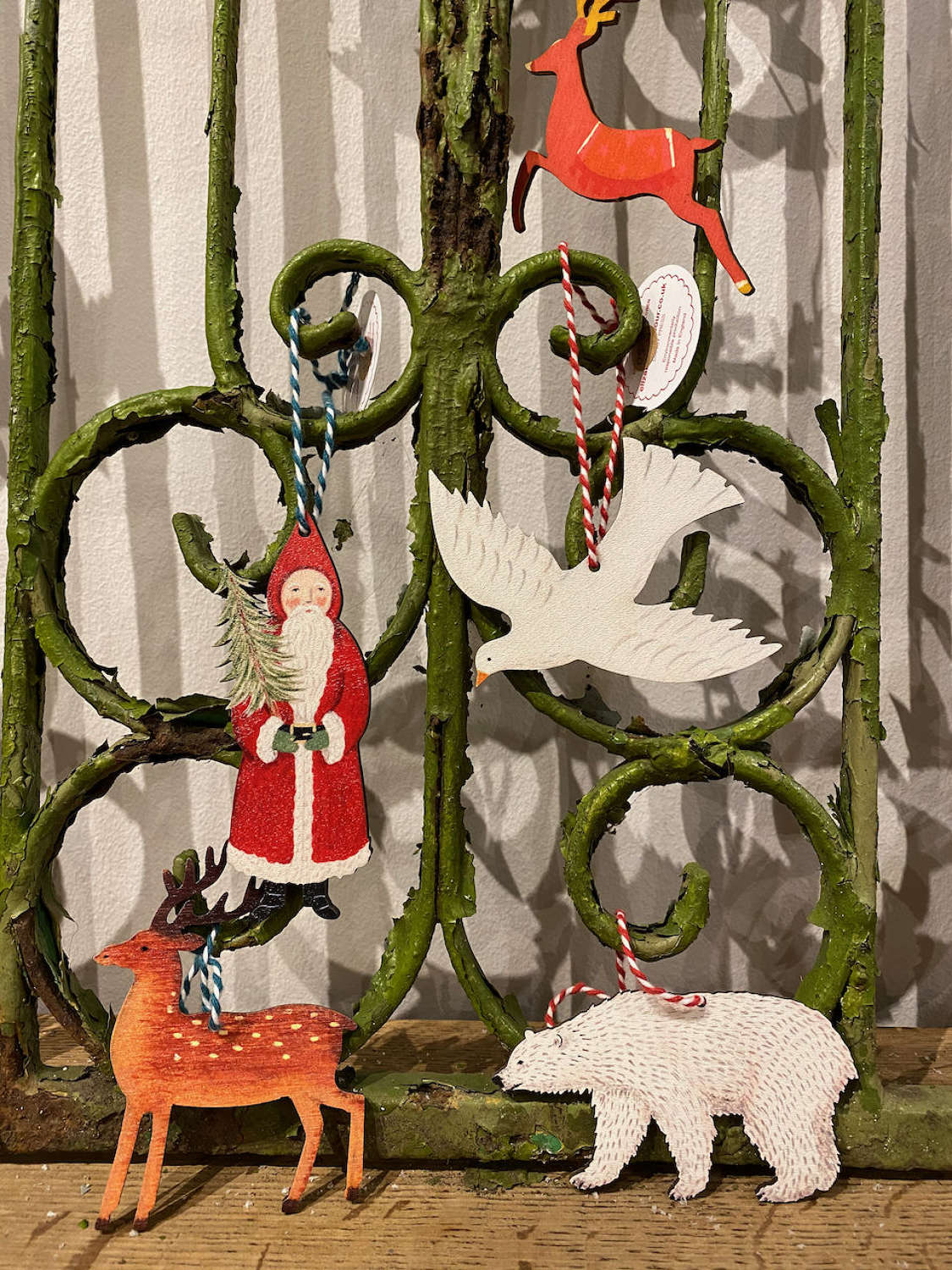 Wooden Christmas decorations by Elizabeth Harbour