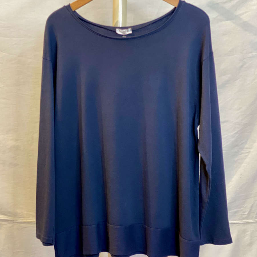 Navy oversize jersey top with wide band