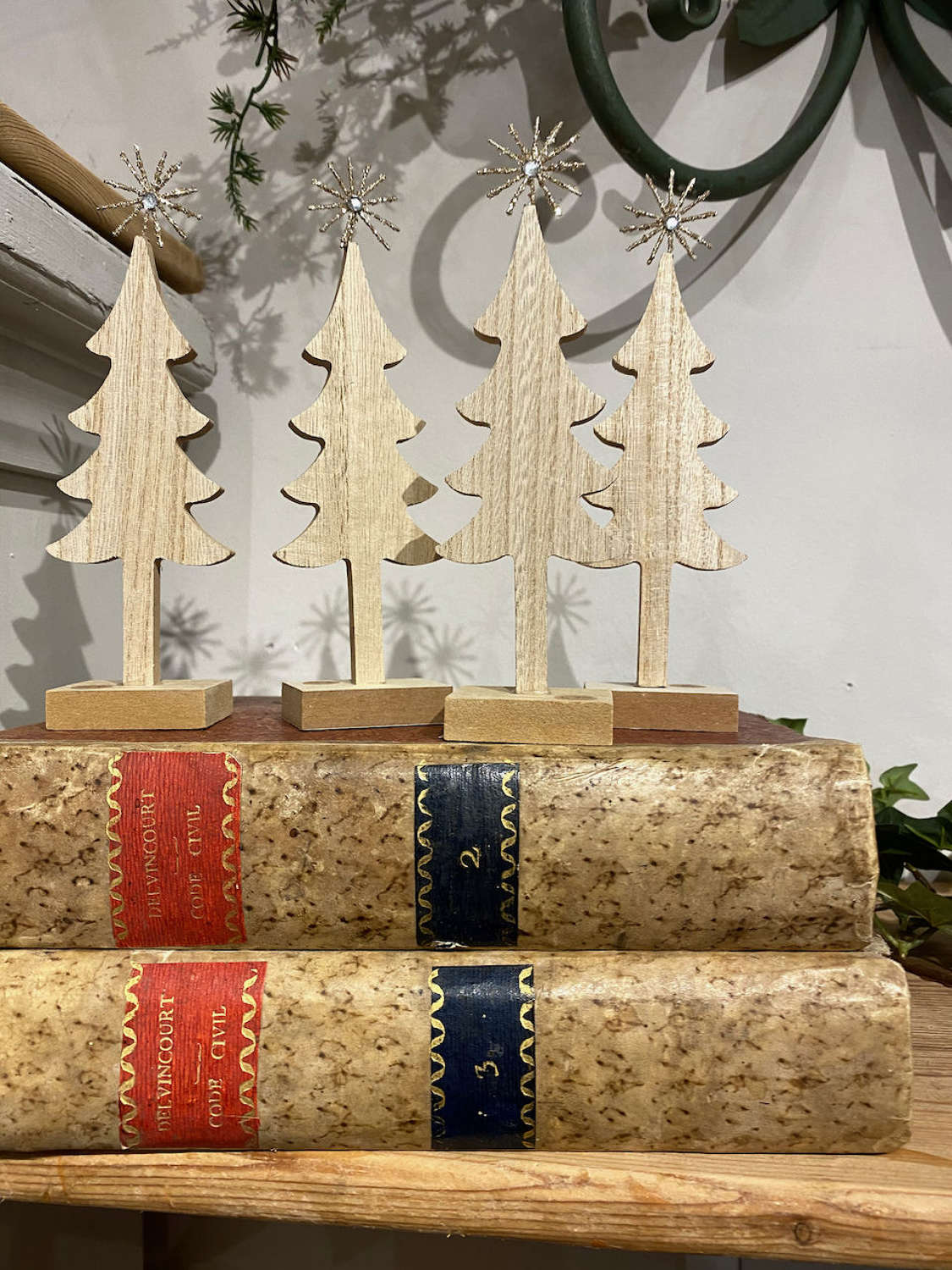 Wooden Christmas trees with sparkly star