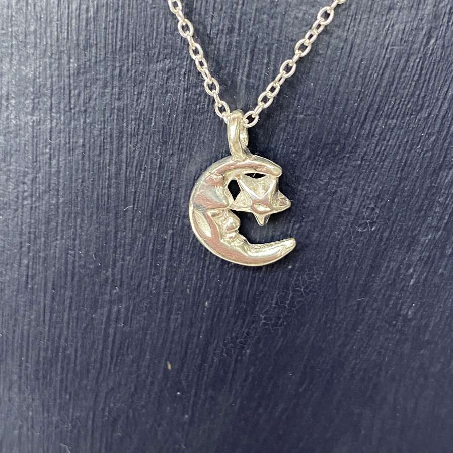 Stirling silver necklace - little moon and star pendant