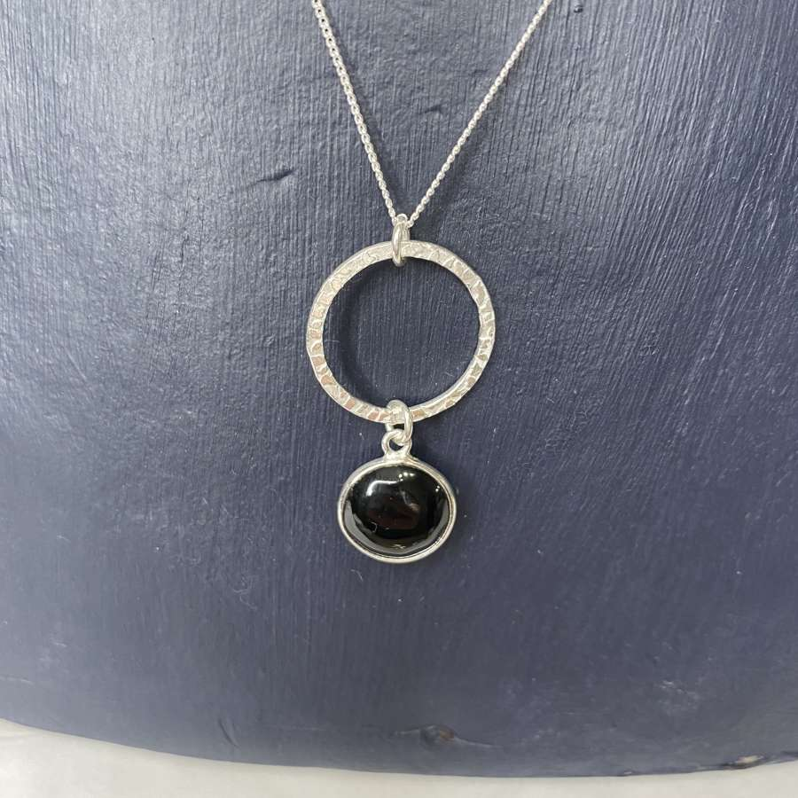 Stirling silver necklace - onyx pendant