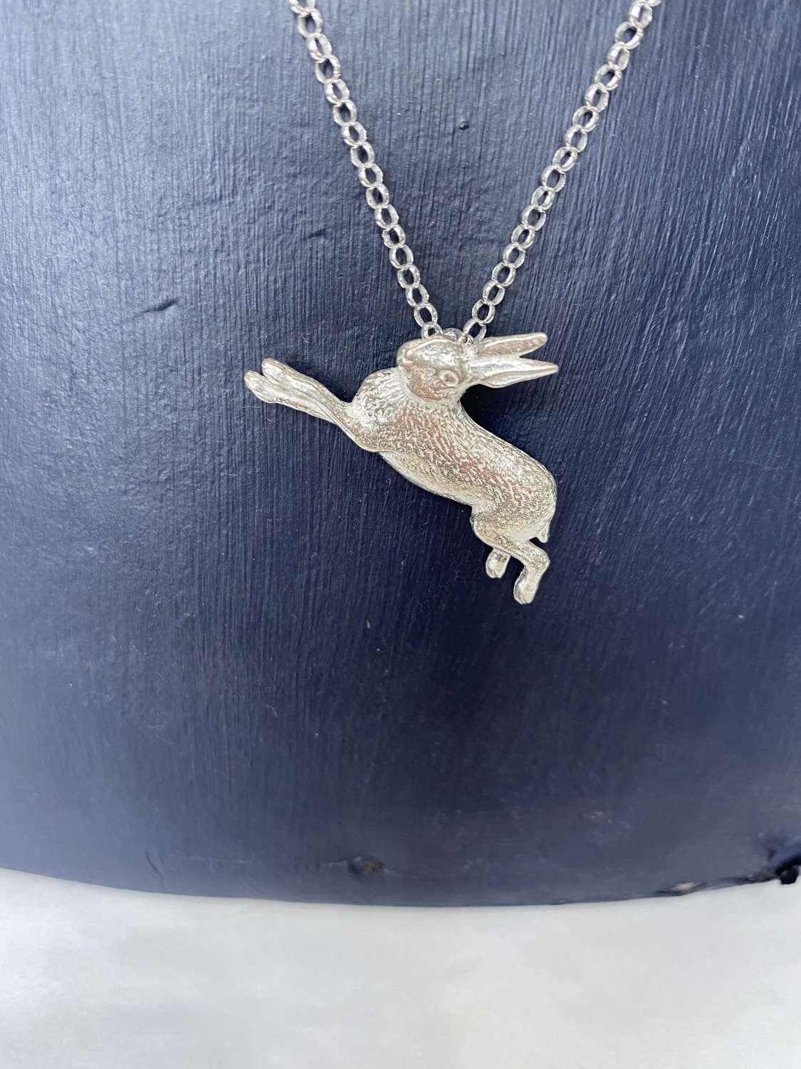 Stirling silver necklace - large leaping hare pendant