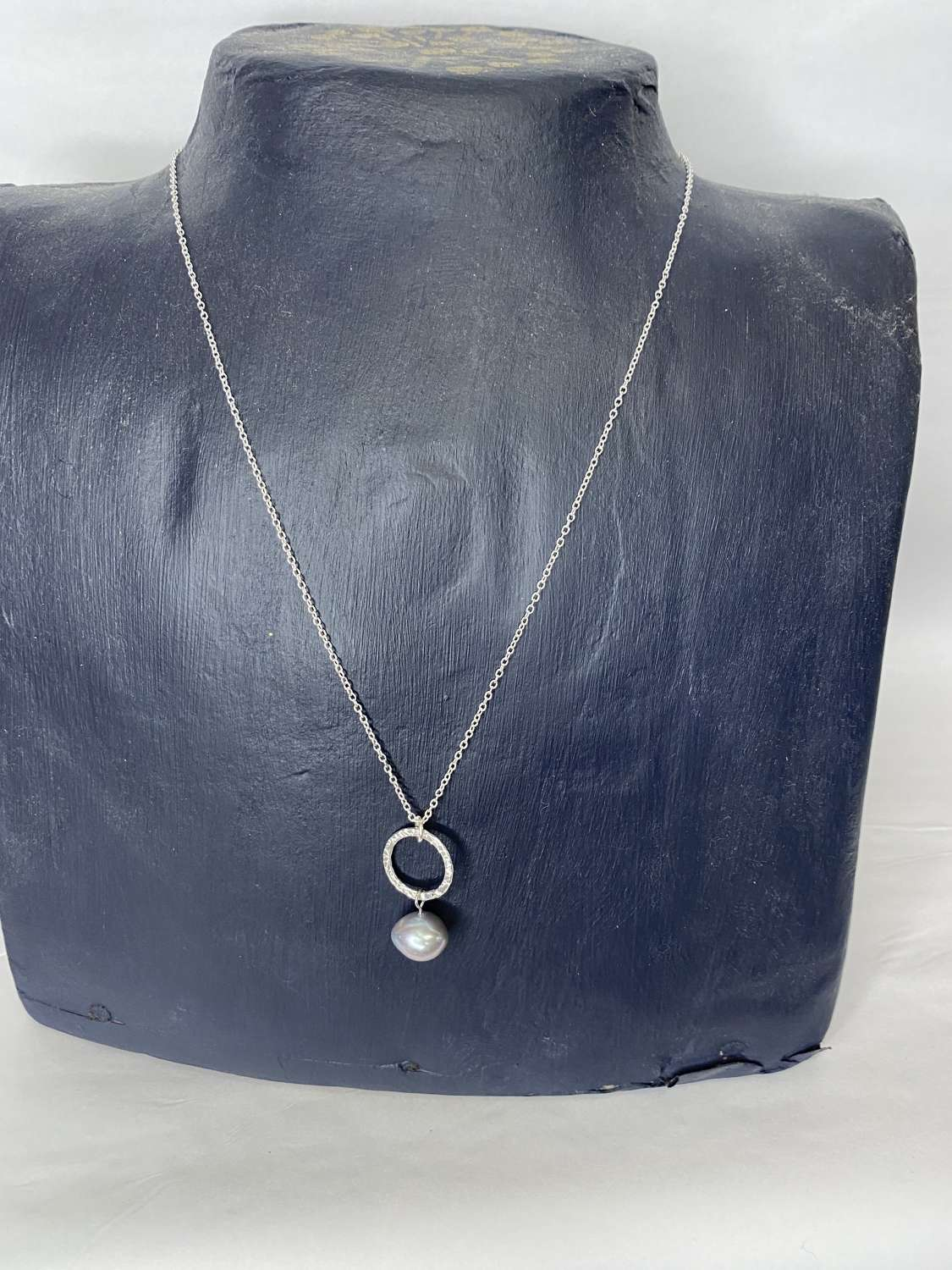 Stirling silver necklace - drop pearl pendant ( 2 colours available)