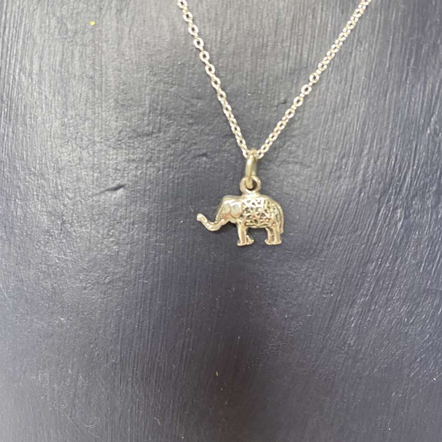 Stirling silver necklace - small elephant pendant
