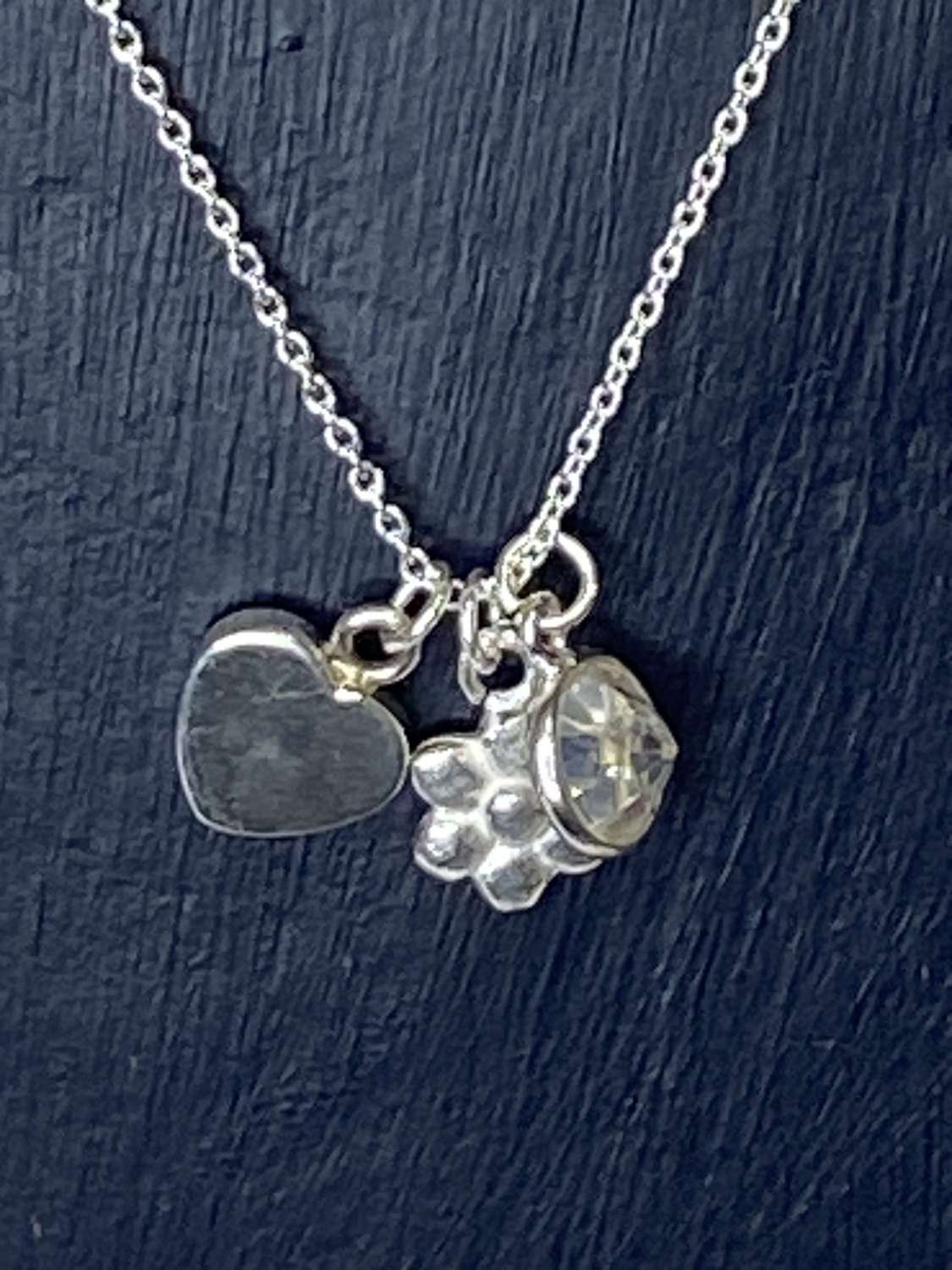 Stirling silver necklace - flower, heart, CZ pendants