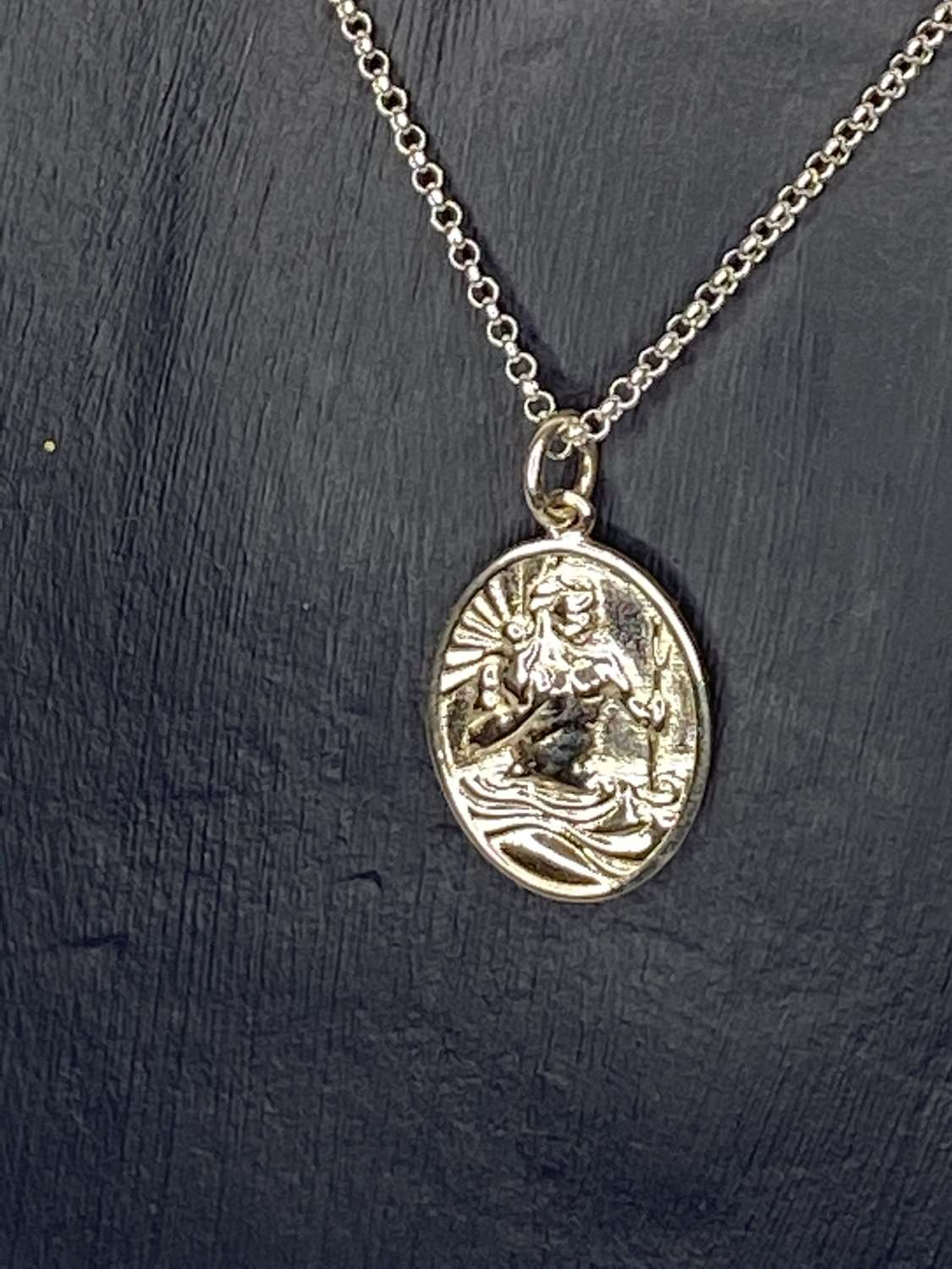 Stirling silver necklace - St Christopher pendant