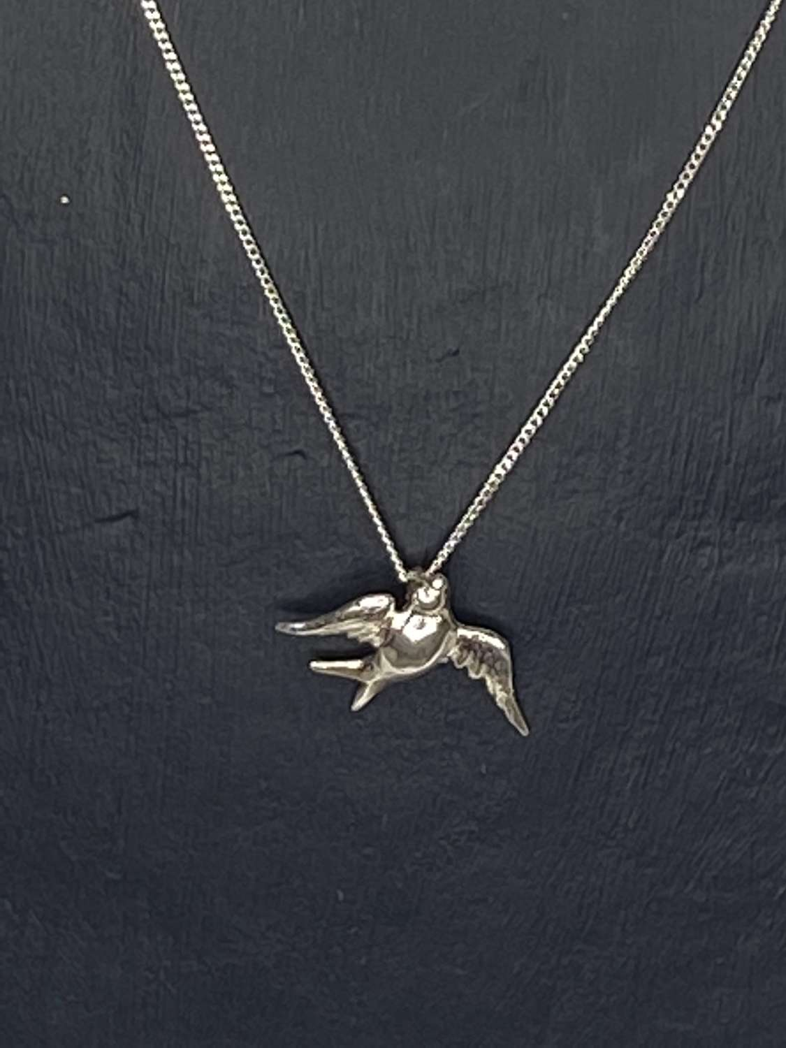 Stirling silver necklace - Swallow pendant
