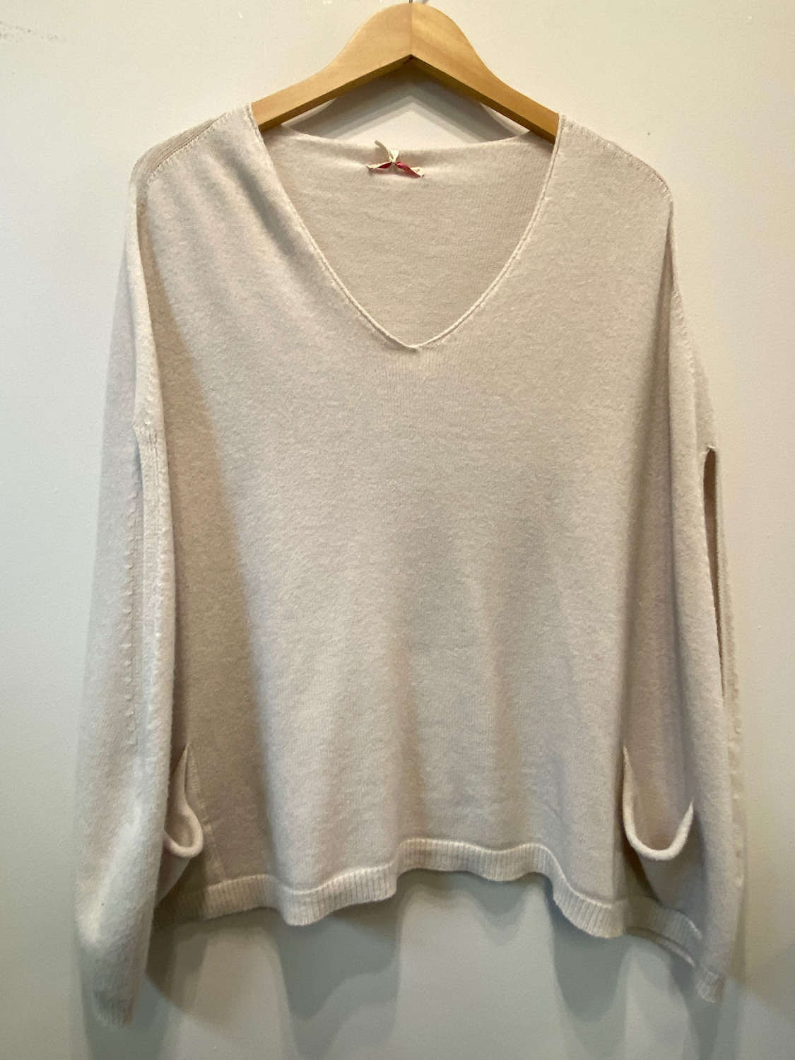 Super soft knitwear poncho in winter white