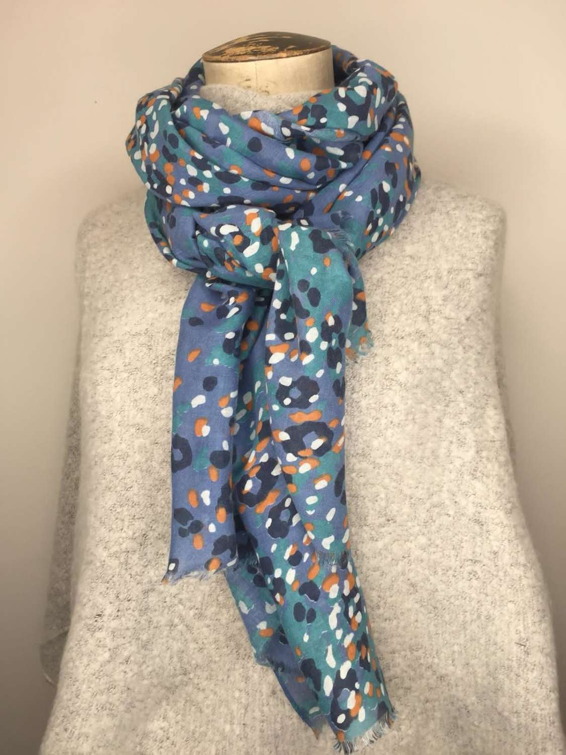 Abstract Spot Scarf - Blue/Orange.White/Navy