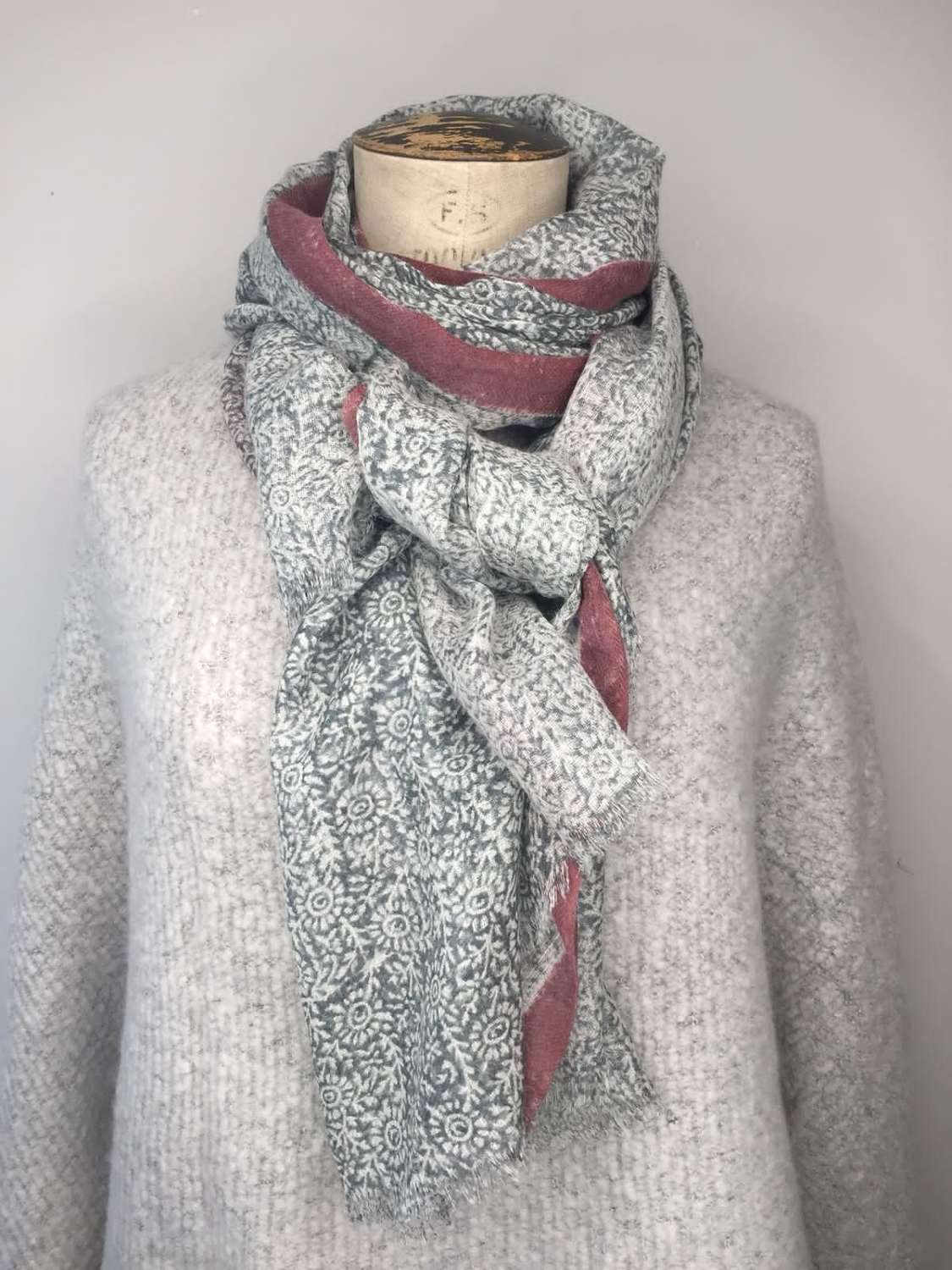 Jo Edwards Scarf - Pink & Grey