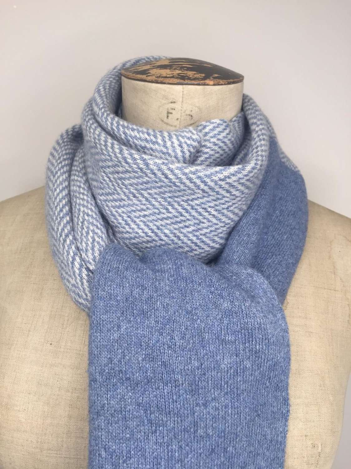 Herringbone Scarf - available in grey and blue
