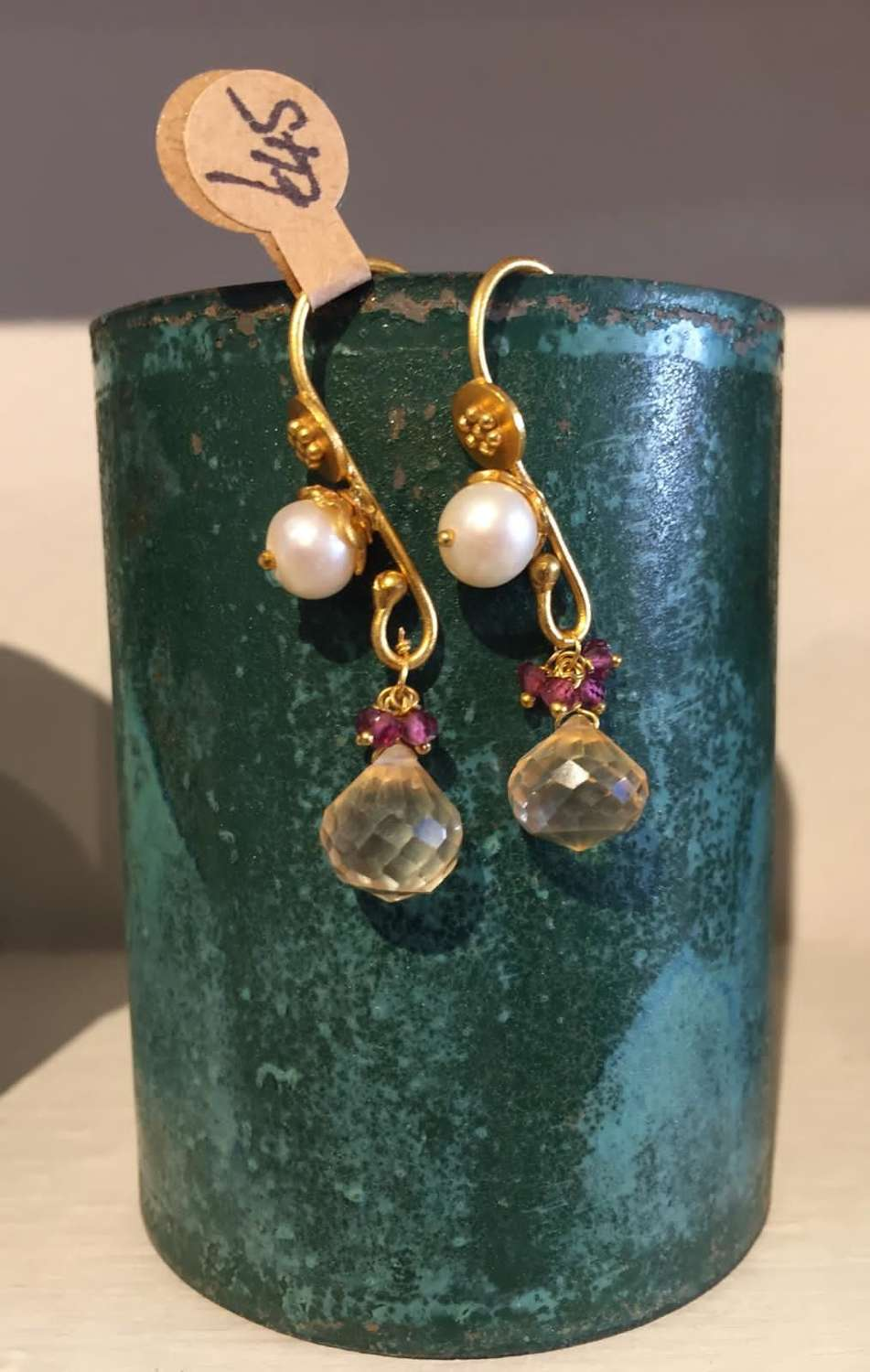 Indian gold earrings with pearl and semi precious stones