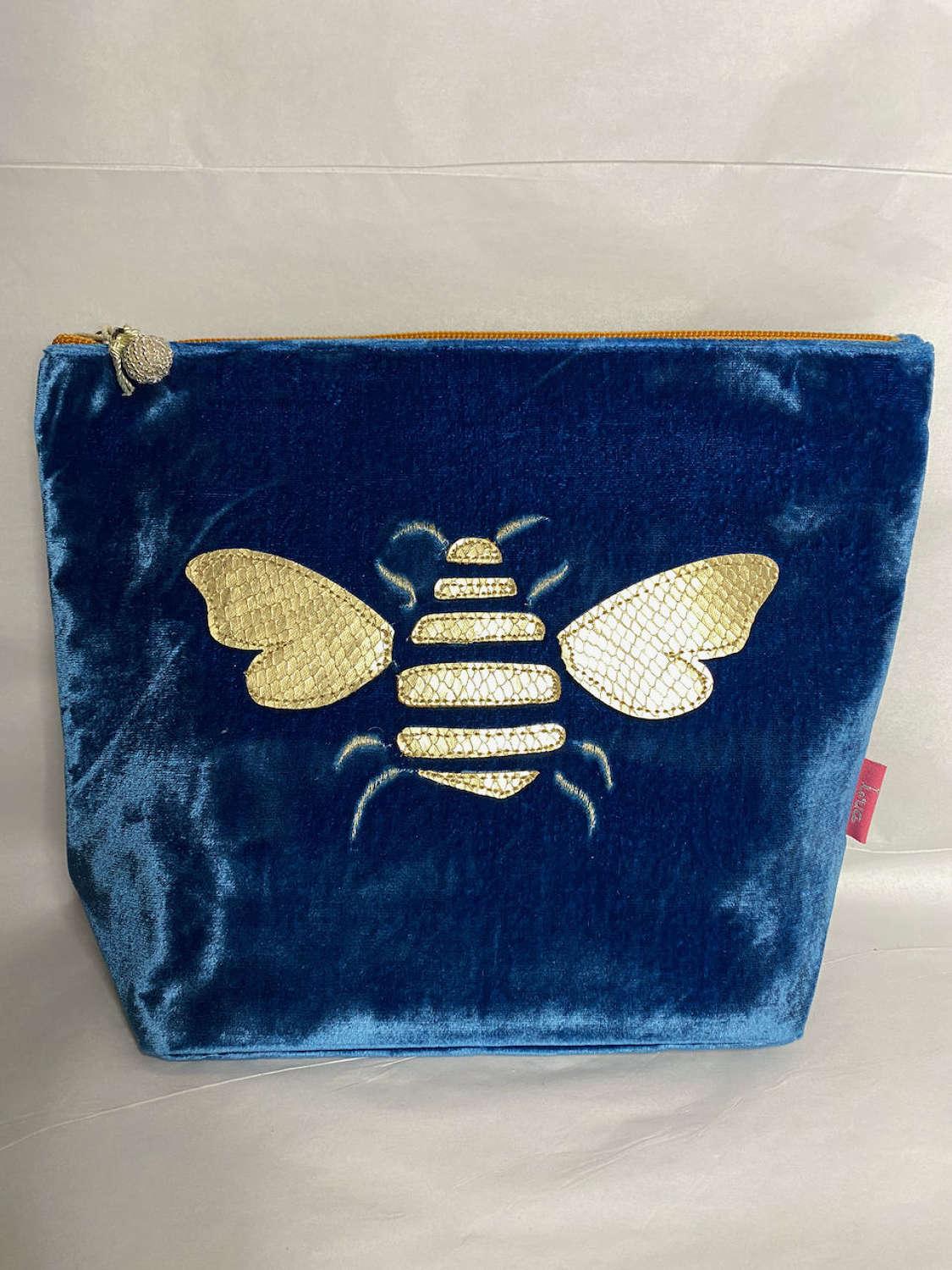 Large velvet embroidered make up bag with gold bee.   Cobalt blue