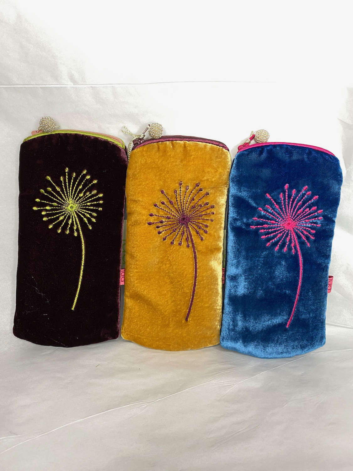 Dandelion velvet purses and glasses cases