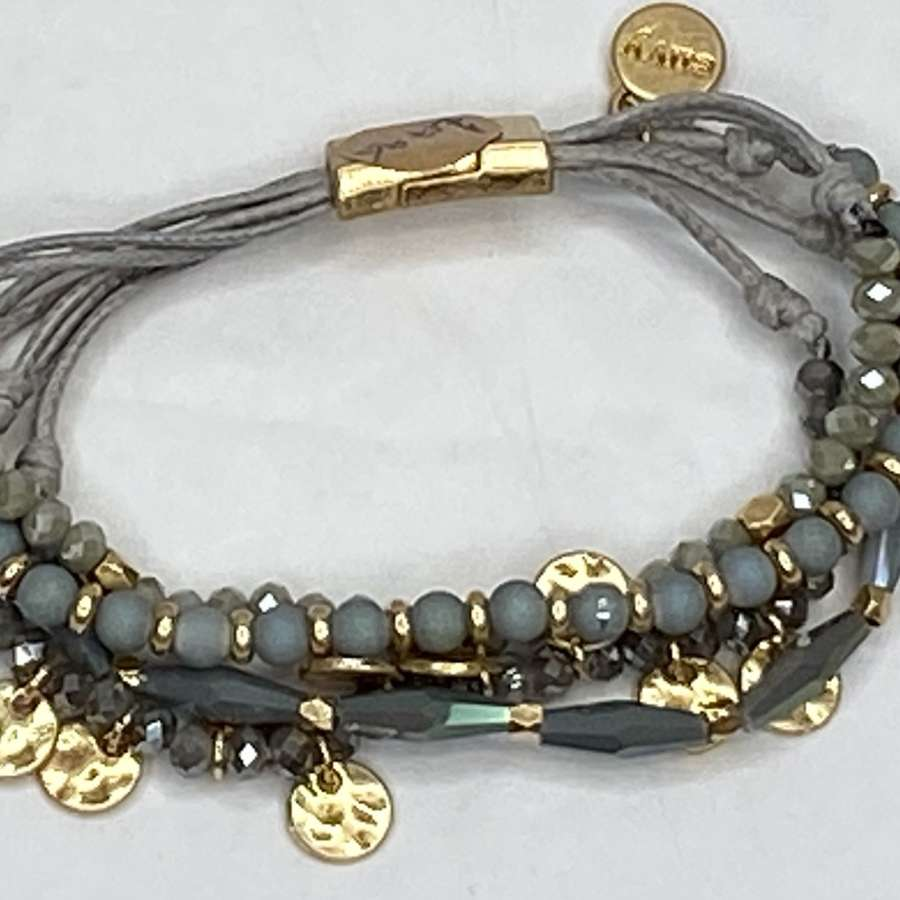Blue/Grey and gold multi strand bracelet - magnetic clasp