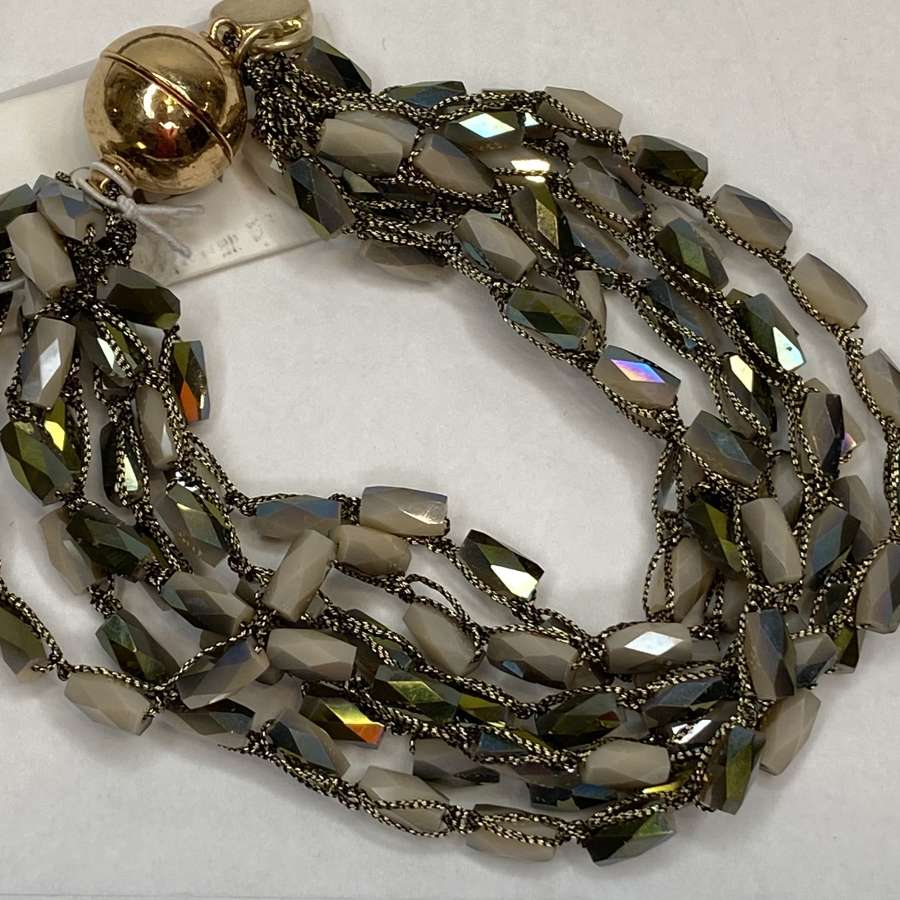 Green faceted beaded bracelet - magnetic clasp