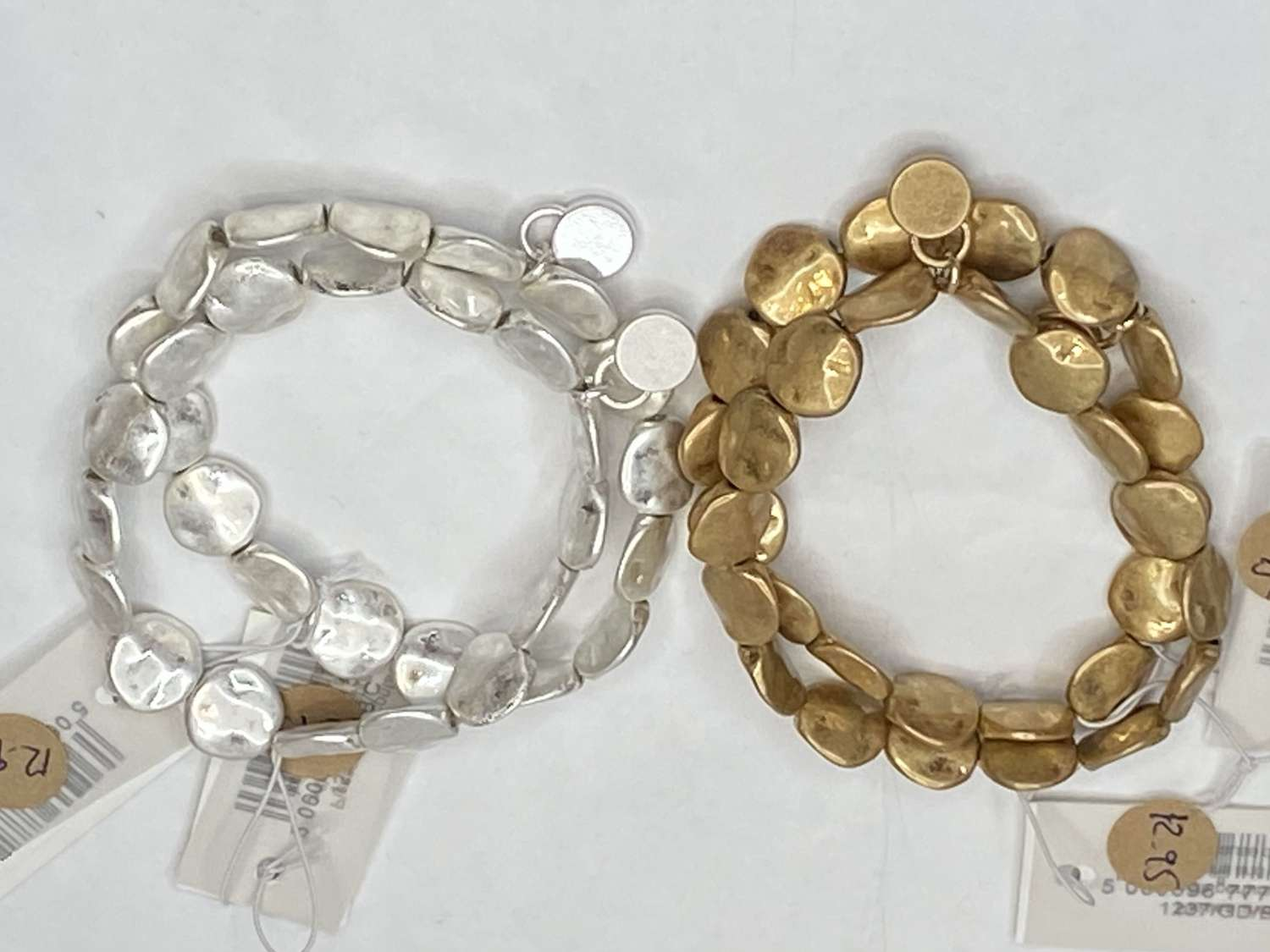 Stretchy metal disc bracelets - (sold individually)
