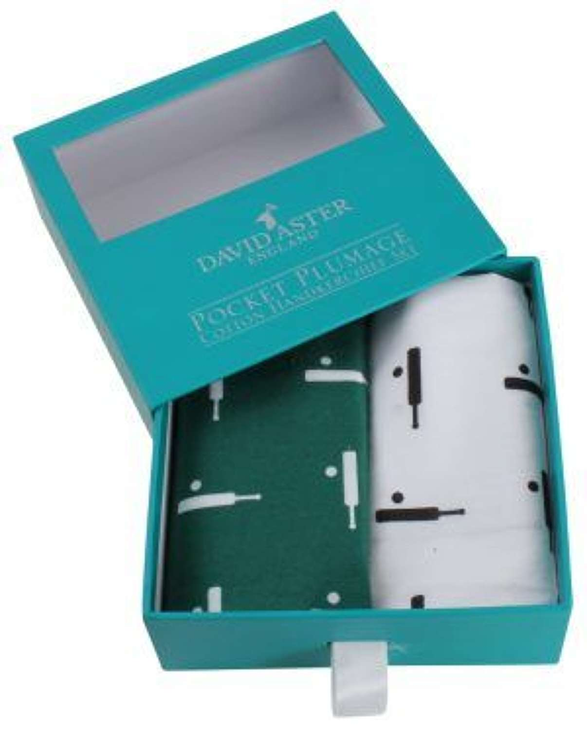 Green & White Cricket Handkerchief Set