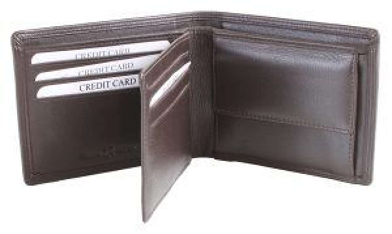 Leather Wallet RFID lined with ID Partition and Coin Pouch