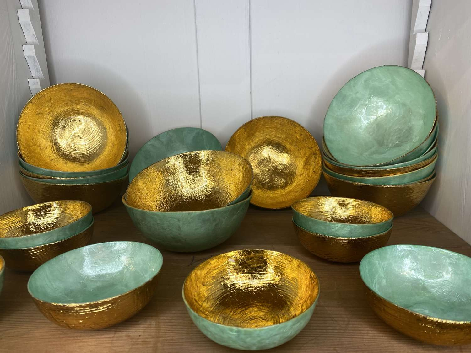 Green & Gold Lacquer Bowls (sold individually)