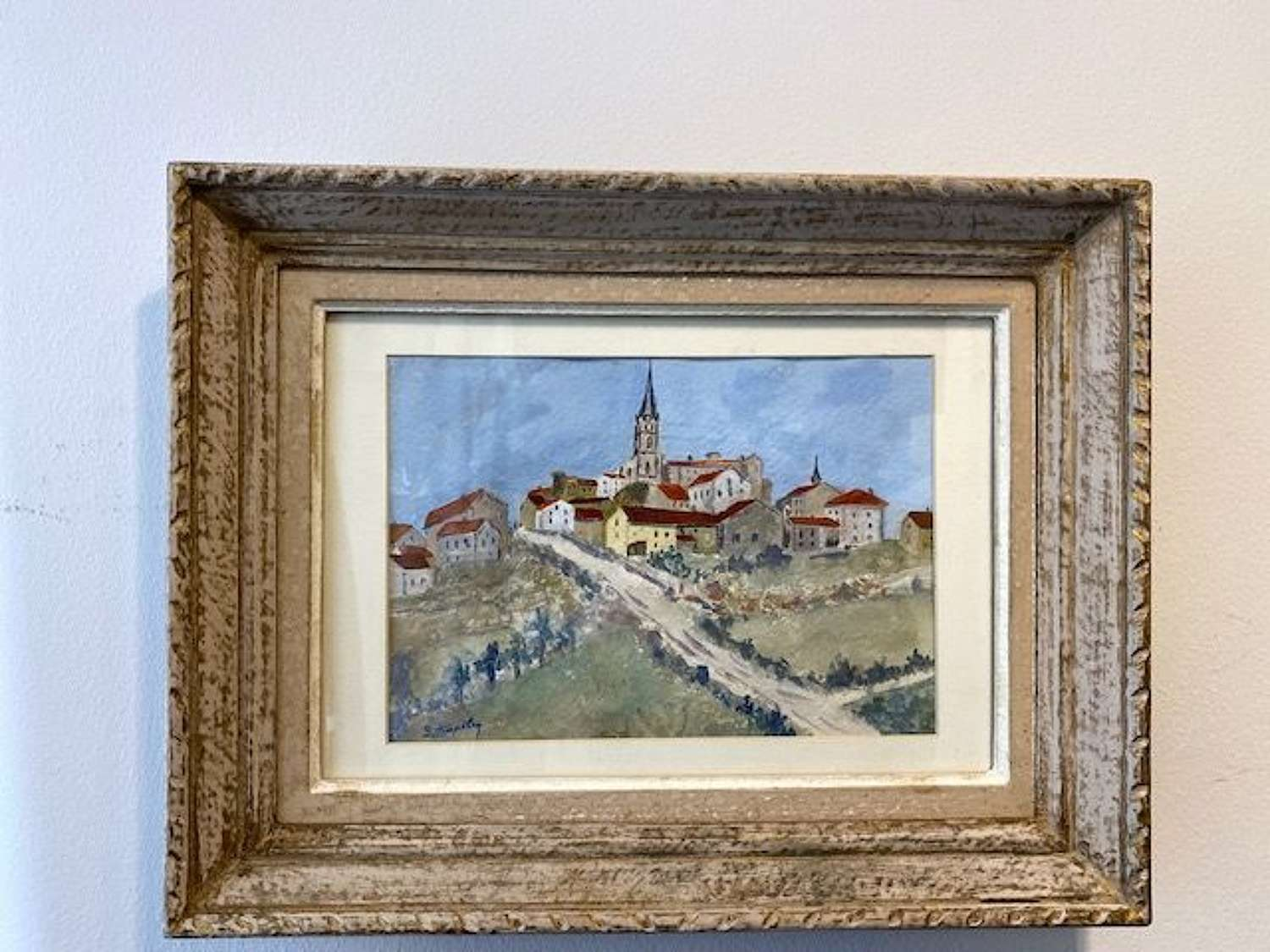 Vintage French watercolour in old distressed French frame