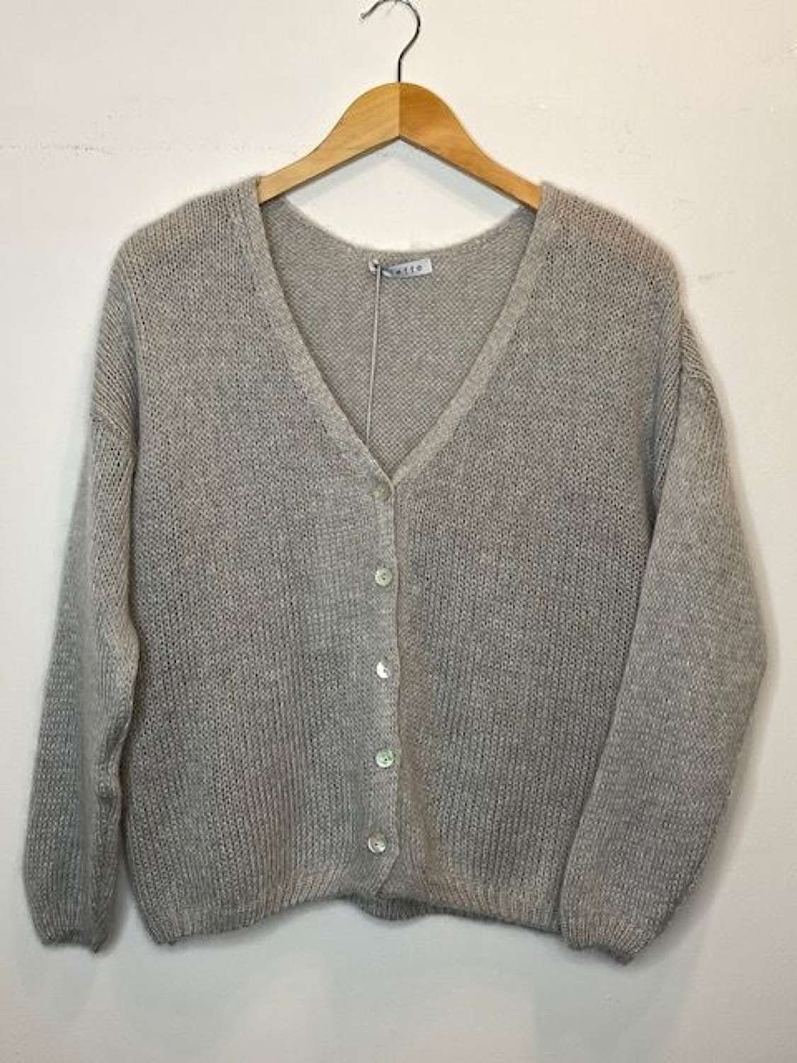 Mohair mix cardigan with mother of pearl buttons