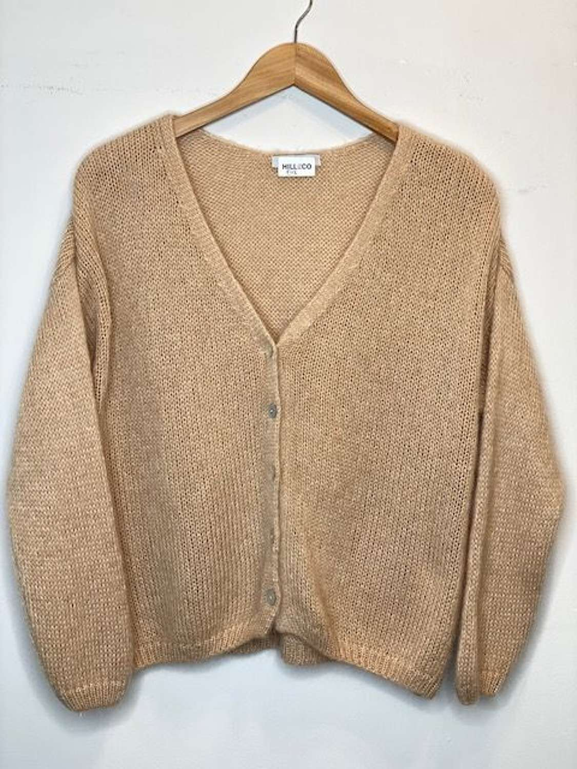Lightweight mohair mix cardigan with mother of pearl buttons - caramel