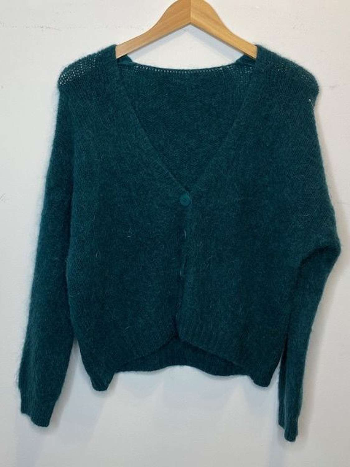 Chunky super soft scoop back mohair mix cardigan - Cobalt green\blue