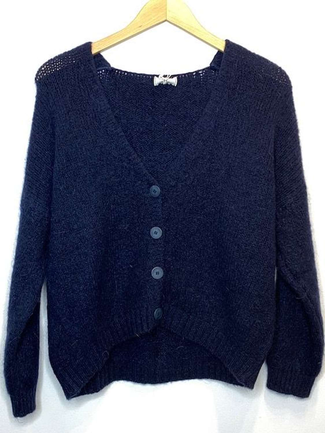 Chunky super soft scoop back mohair mix cardigan - Navy