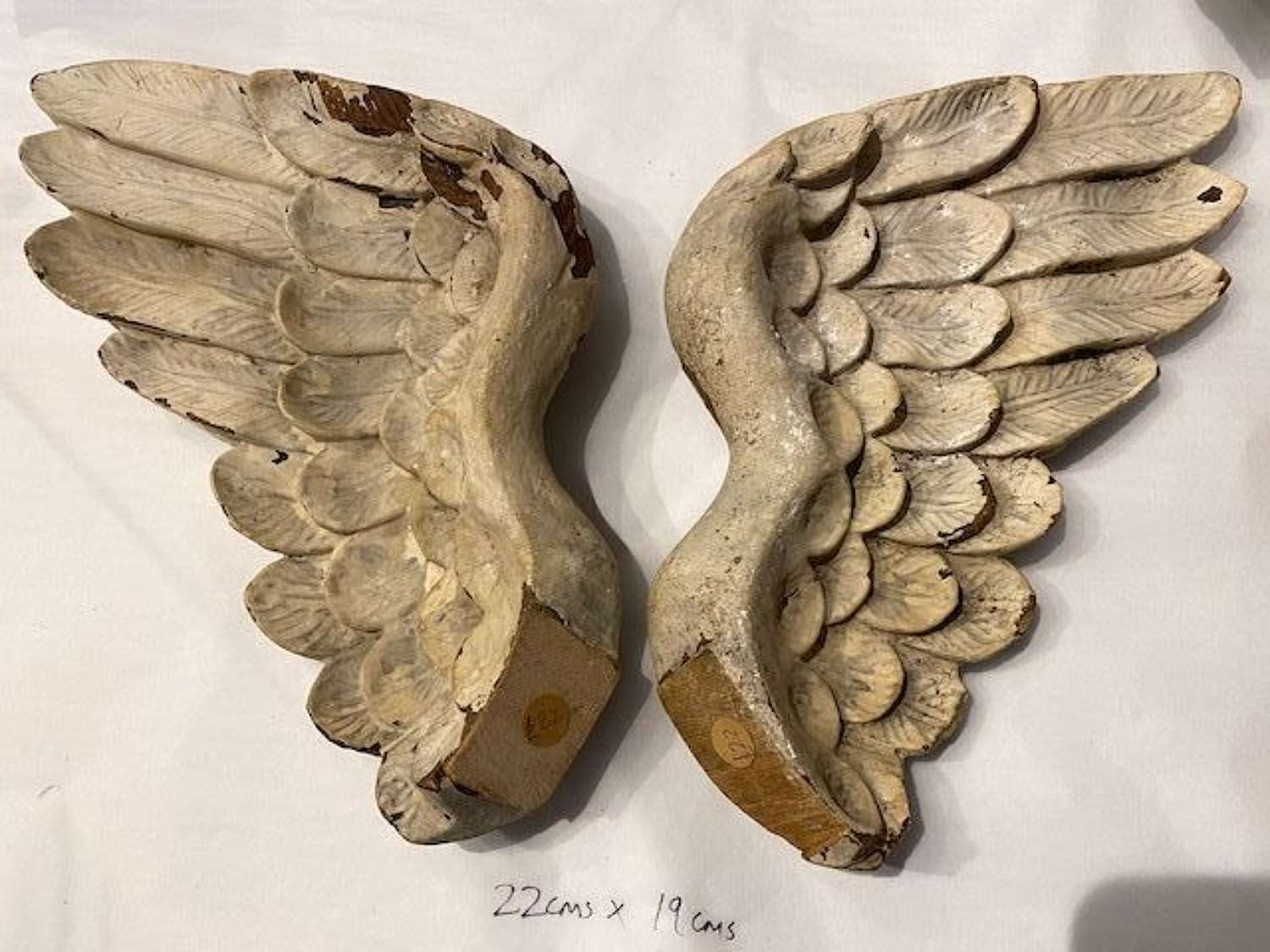 Vintage wooden wings with original distressed paint