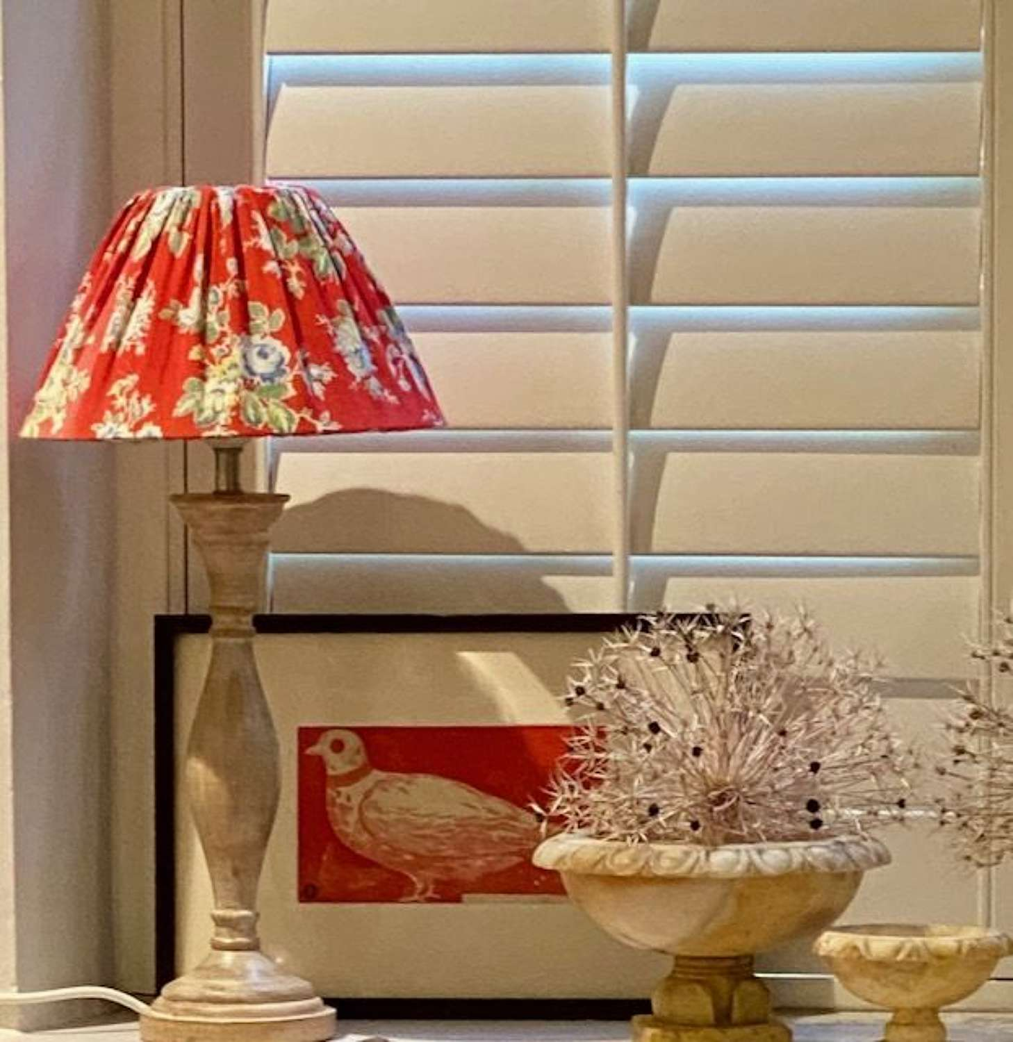 Two Lamps with vintage French floral cotton lampshades